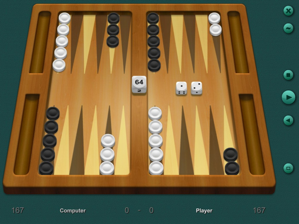 Play backgammon against your computer 3 levels available. Screen Shot